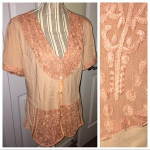 Anthropologie dusty rose pink blouse